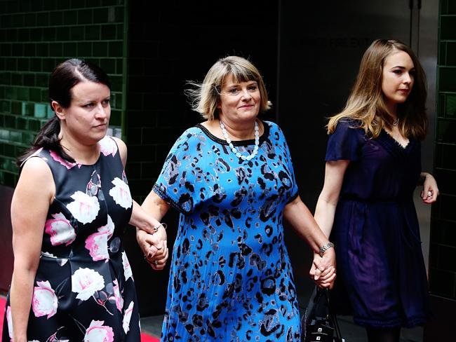 Sister Vicky arrives with Jo Thornely, left, and Charlotte's niece Emily Barclay. Source: