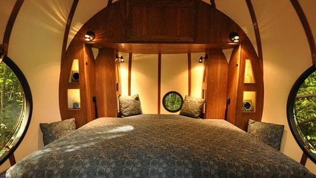 THE amazing interior of the spherical tree house. Pictures: supplied www.unusualhotelsoftheworld.com