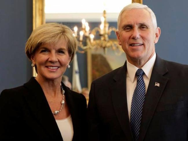 Foreign Minister Julie Bishop and US Vice President Mike Pence in Washington D.C. Source: Twitter/Julie Bishop