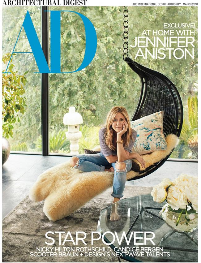 Jennifer Aniston on the cover of Architectual Digest. Picture: Architectural Digest/Francois Dischinger