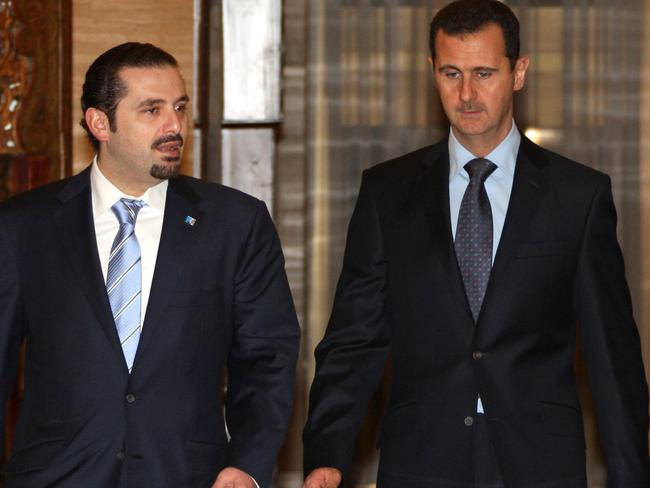 Former Lebanese Prime Minister Saad Hariri (left) with Syrian President Bashar al-Assad in Damascus in 2009. Picture: AFP