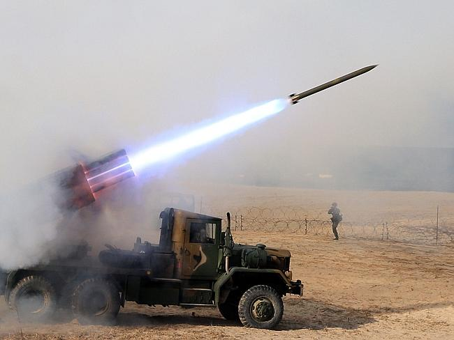 The South Korean army conducts military exercises. Picture: Suplpied