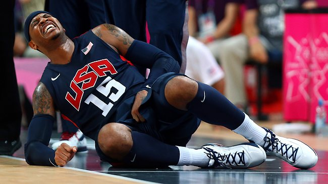 Carmelo Anthony #15 of United States reacts after getting fould against Argentina. (Photo by Paul Gilham/Getty Images)