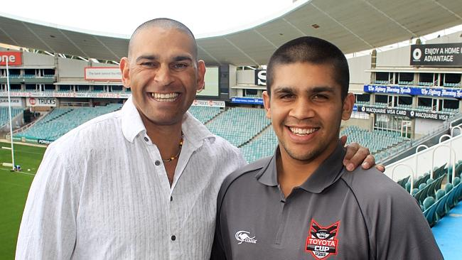 NRL Toyota Cup Team of the year announcement - Cronulla player Tyrone Peachey with his Uncle, David Peachey.