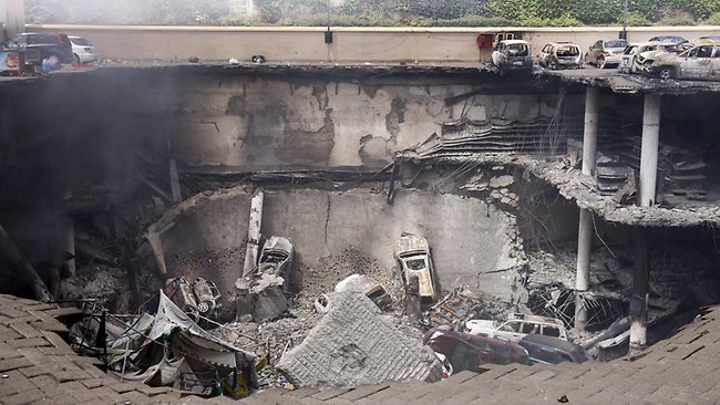 The collapsed upper car park of the Westgate Mall in Nairobi, Kenya.