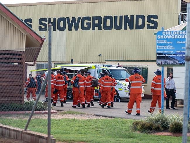 Search is over ... SES and police gather at the local showgrounds, where Chloe was reportedly found.