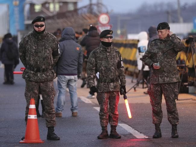 South Korean soldiers stand guard at Unification Bridge, which leads to the Demilitarized Zone in Paju, South Korea. Picture: AP Photo/Lee Jin-man