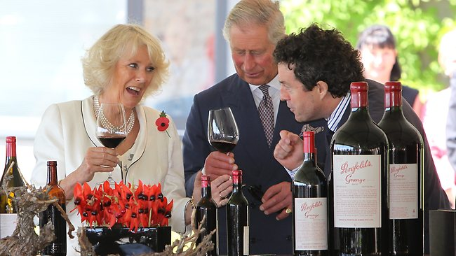 The Prince of Wales and the Duchess of Cornwall visiting Penfolds Magill Estate , Adelaide , South Australia.Tasting a 1962 Penfolds Bin 60a Coonawarra Cabernet Kalimna Shiraz with Penfolds chief winemaker Peter Gago. Picture: Tait Schmaal