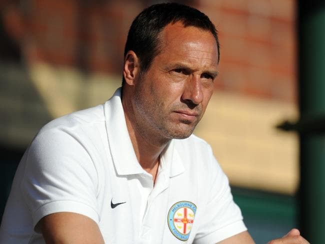 Melbourne City coach John van't Schip watches the Bolton match intently.
