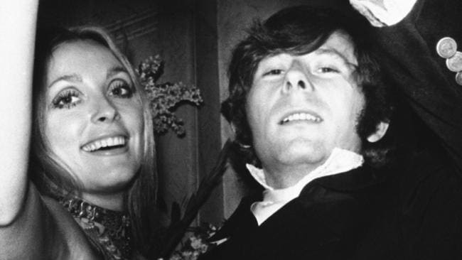 Roman Polanski with his wife, Sharon Tate, toasting the opening of film Rosemary's Baby in London in 1969.