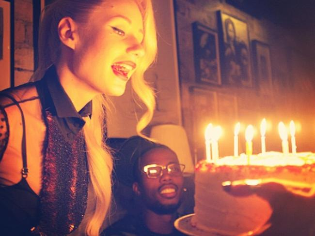 Hungry Iggy: Miss Azalea gets stuck into her birthday cake. Picture: Instagram