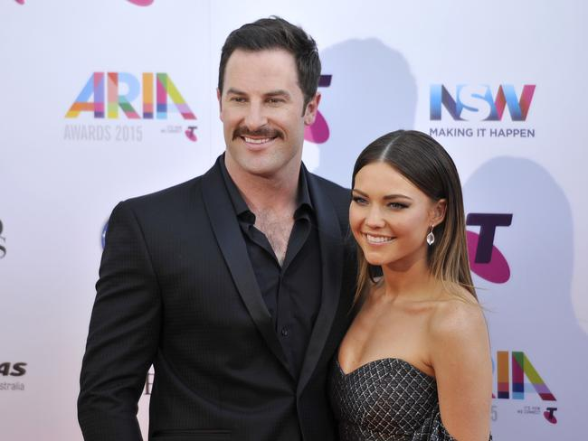 Dream team ... Sasha Mielczarek and Sam Frost arrive at ARIA Awards. Picture: AAP/Joel Carrett