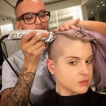 "Kelly Osbourne ... ""Getting my head shaved! @fraankie #MyHairGrowsTooFast #NoMakeUp"" Picture: Instagram"