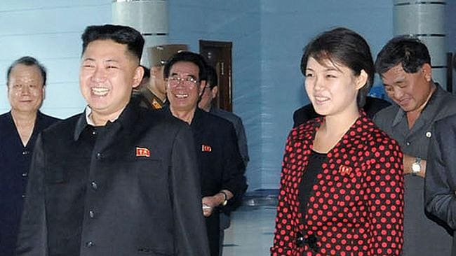 The marriage of the North Korean dictator was only revealed in 2012. It is believed they tied the knot in either 2009 or 2010. Picture: KCNA/AFP