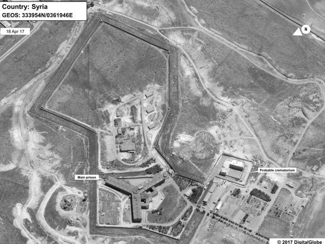 A satellite image of what the US State Department described as a prison complex in Syria. Picture: State Department/DigitalGlobe via AP