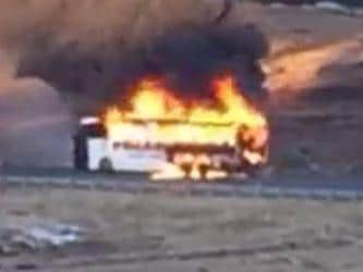 Dozens of skiiers managed to escape a flaming bus near Perisher. Picture: Facebook