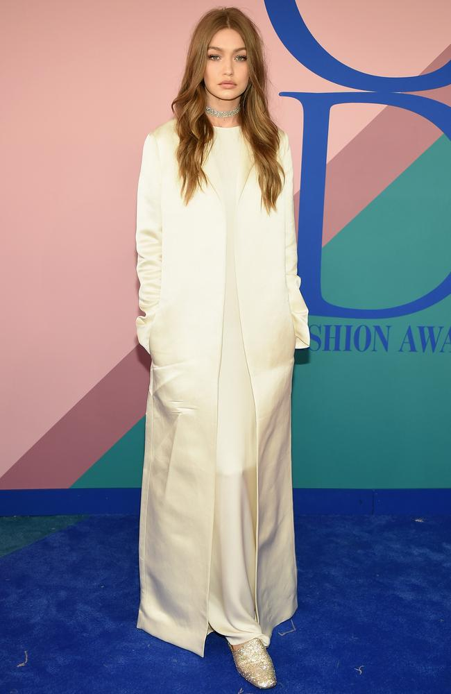 Gigi Hadid is IT. And being IT sometimes means wearing white on white on white. Gigi at the CFDA Fashion Awards on June 5, 2017. Picture: Dimitrios Kambouris/Getty Images