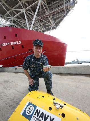 US Captain Mark Matthews in change of the pinger device at Stirling Naval Base. Picture: