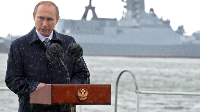 Russian President Vladimir Putin delivers a speech at the Baltiysk naval base in Kaliningrad. Picture: AFP.