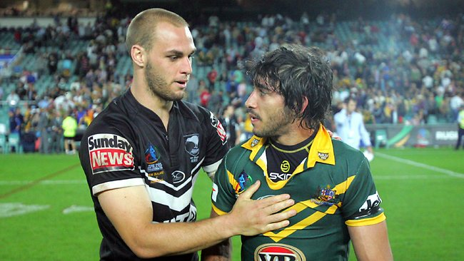 Kangaroos Johnathan Thurston (R) at the end of the Australia v New Zealand RL World Cup match at the SFS in Sydney, 2008.