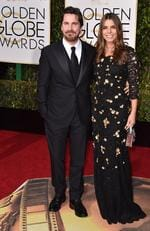 Christian Bale and Sibi Blazic arrive at the 73rd annual Golden Globe Awards on Sunday, Jan. 10, 2016, at the Beverly Hilton Hotel in Beverly Hills. Picture: Jordan Strauss/Invision/AP