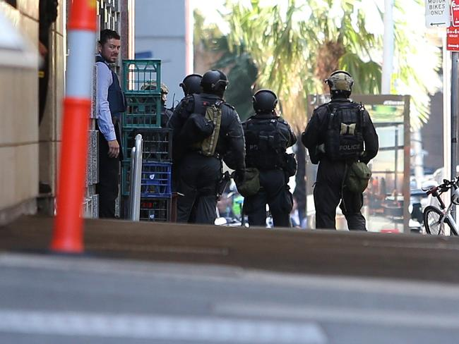 Mobilised ... the bomb squad on scene at Martin Place. Picture: Richard Dobson