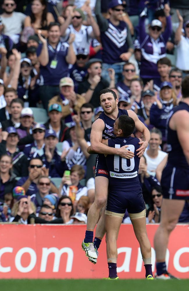 Docker Hayden Ballantyne celebrates one of his goals. Picture: Daniel Wilkins
