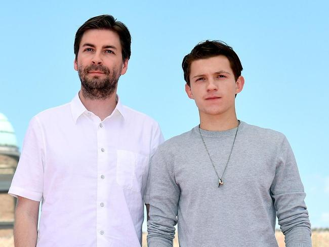 Spider-Man director Jon Watts, left, and Tom Holland at the Rome premiere last week. Picture: Ettore Ferrari/ANSA via AP