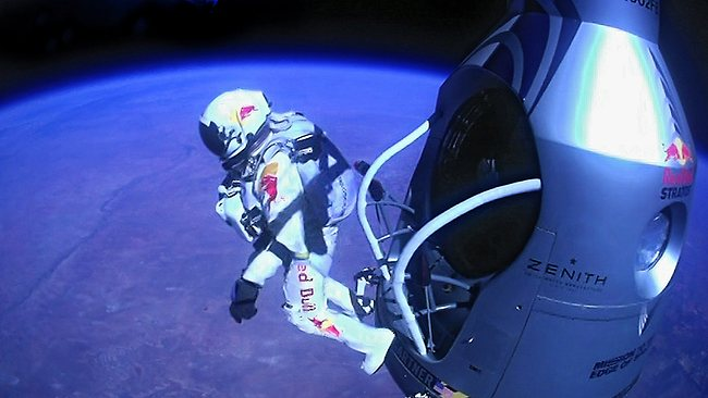 Felix Baumgartner jumps out of a balloon from 39km in the air, breaking the sound barrier and setting a new world record in the process. (AP Photo/Red Bull Stratos)