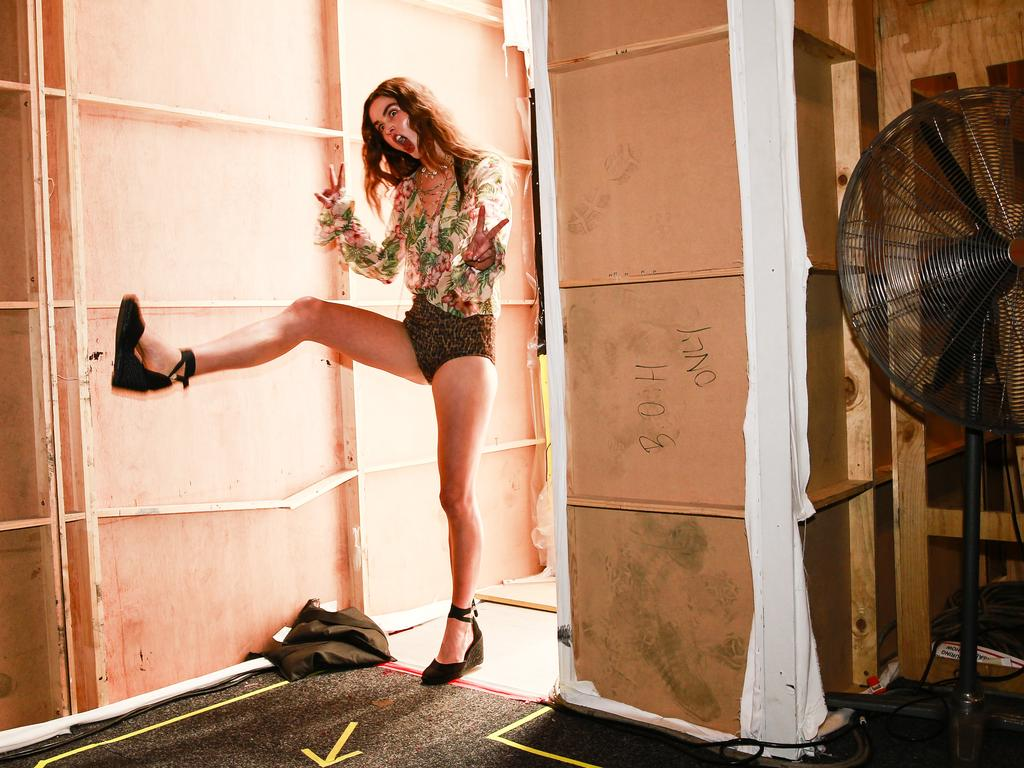 Behind the scenes at Fashion Week at Carriageworks. Running backstage for an outfit change. Picture: Dylan Robinson