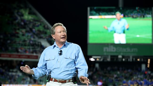 Andrew Forrest speaks before the World Series Rugby match in Perth.