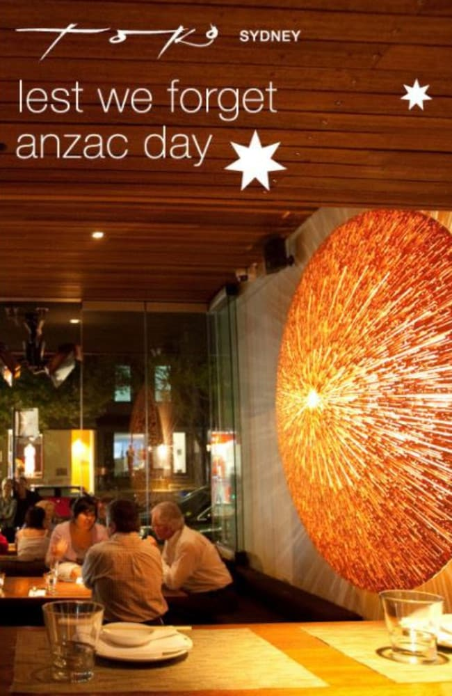 A Sydney restaurant used Anzac Day to advertise its opening hours on the public holiday.