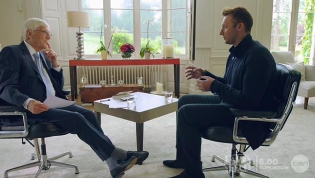 Ian Thorpe revealed he was gay in an emotional interview with Michael Parkinson. Picture: CH 10