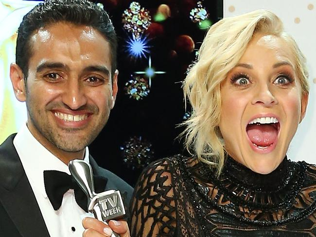 MELBOURNE, AUSTRALIA - MAY 08:  Waleed Aly, Carrie Bickmore and Peter Helliar pose with the Logie Award for Best News Panel Or Current Affairs Program 'The Project ' during the 58th Annual Logie Awards at Crown Palladium on May 8, 2016 in Melbourne, Australia.  (Photo by Scott Barbour/Getty Images)