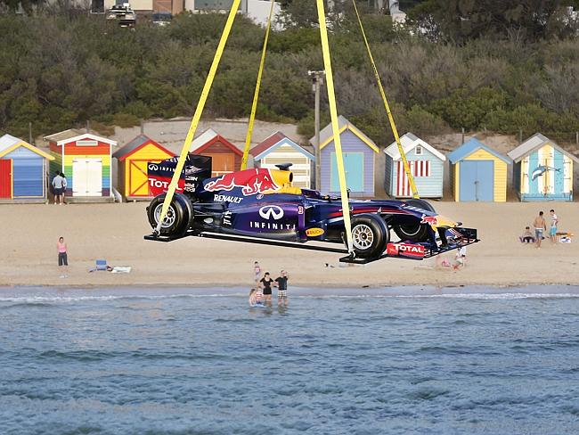 The Red Bull racing car over Brighton Beach. Picture: David Caird