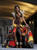 <p>Miss Universe Australia 2010 Jesinta Campbell models her national costume designed by Arthur Ave's Natasha Dwyer. Picture: Andrew Brownbill</p>  <strong>Designers rate this year's outfit</strong>