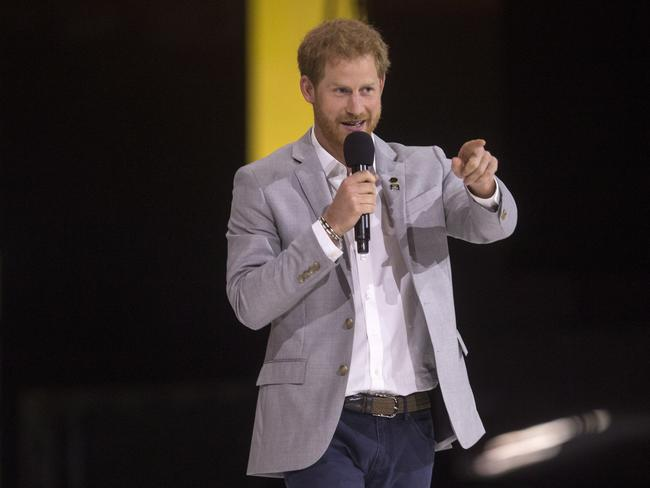 Britain's Prince Harry addresses the crowd during the Invictus Games closing ceremony in Toronto. Picture: AP