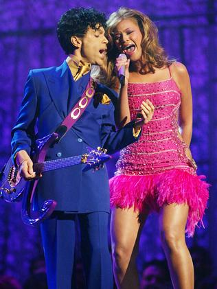 Beyonce performs  <i>Purple Rain</i> with Prince at the 2004 Grammy Awards. Picture: Frank Micelotta/Getty Images