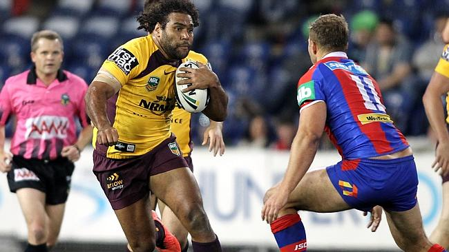Sam Thaiday runs the ball for the Brisbane Broncos in a clash against the Newcastle Knights.