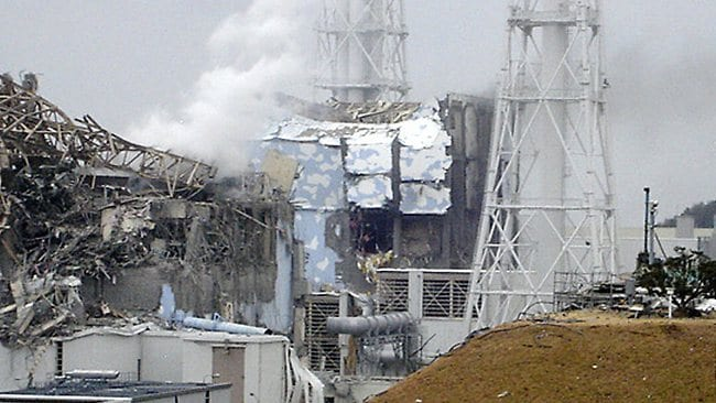 The devastated reactor 4 at the Fukushima Dai-ichi nuclear complex. Picture: AP/TEPCO
