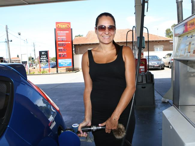 Sophia Danas filling up at Rebel Petrol, Earlwood.