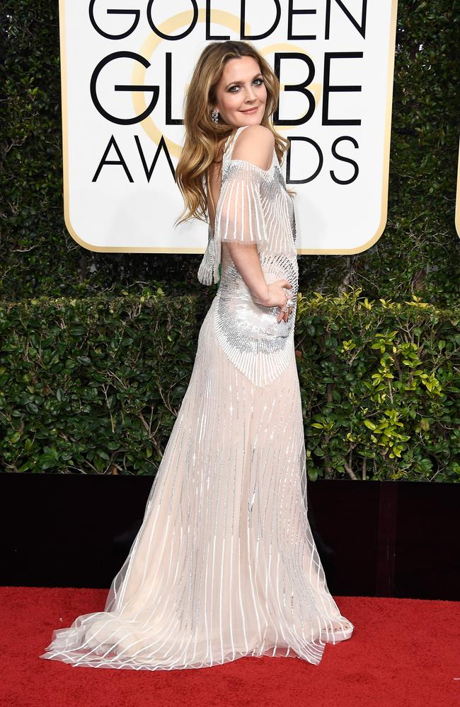 Drew Barrymore in Monique Lhuillier at the Golden Globes. Picture: Getty Images
