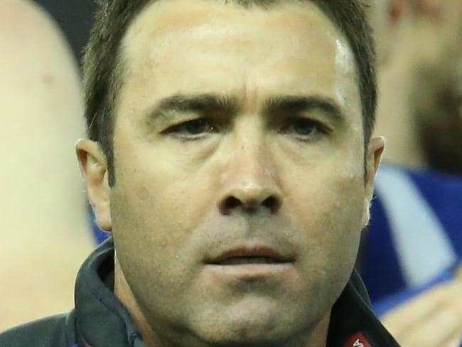 Kangaroos coach Brad Scott after the first quarter break during the Round 16 AFL match between the Fremantle Dockers and the North Melbourne Kangaroos at Etihad Stadium in Melbourne, Sunday, July 9, 2017. (AAP Image/David Crosling) NO ARCHIVING, EDITORIAL USE ONLY