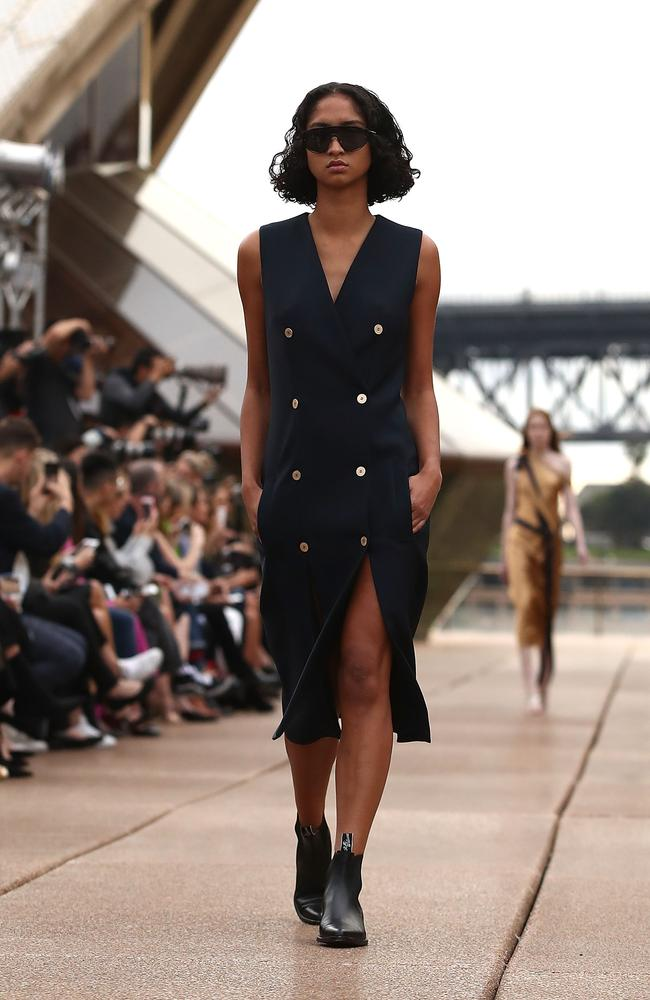 A model walks the runway during the Mercedes-Benz Presents Dion Lee show at Mercedes-Benz Fashion Week Resort 18 Collections at the Sydney Opera House. Picture: Brendon Thorne