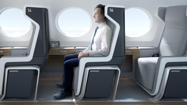 The passenger jet will have a single row of upright chairs on each side of the aircraft.