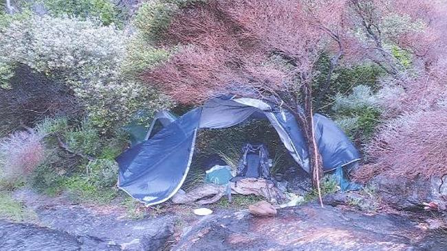 The campsite where police believe Rowan Wallace Cook was staying.