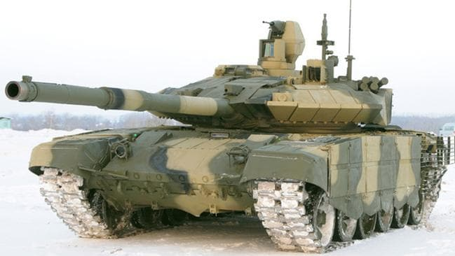 All front ... the T-90AM main battle tank. Source: Supplied