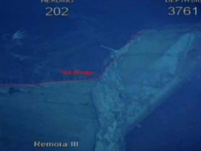 The damage to Shipwreck#4's hull can be seen more clearly in this image. Picture: ATSB