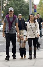 Kourtney Kardashian, Scott Disick and baby Mason were seen going out to lunch while filming scenes for their reality series, 'Kim and Kourtney Take New York' on September 21, 2011. Picture: Splash