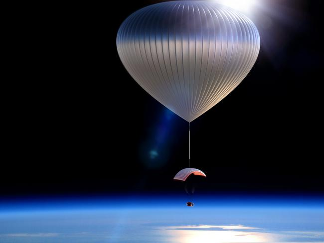 This artist rendering provided by World View Enterprises shows the World View Voyager balloon carrying a pressurised space capsule that will be transported to the edge of space.